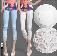 Wholesale New Spring Fashion Women s Leisure Pencil Pants Capris Casual Trousers Lady Brand Lace Leggings L218