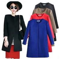 Cheap 2014 Spring Autunm Women Wool Coat Black Blue Red Khaki Round Collar Woolen Overcoat Size S M L XL Free Shipping