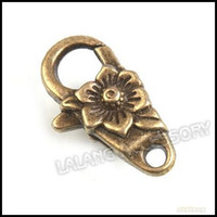 Clasps & Hooks Jewelry Findings Yes 60pcs lot Wholesale Vintage Brass Alloy Metal Flower Lobster Clasp Jewelry Findings 30x17x5mm 160641