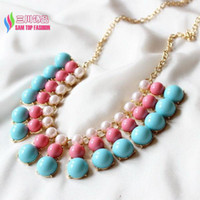 Beaded Necklaces beaded pink bib collar - Women s Gift new fashionable pink blue green faux pearl beaded false collar bib statement pendant necklace collier bijoux
