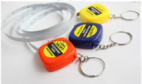 Wholesale DHL new Mini M Tape Measures Small Steel Ruler Portable Pulling Rulers With Key Chain Gauging Tools