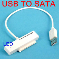 SATA Cable Laptop Yes USB to Sata 2.5 inch Hard Drive HDD Adapter Converter With LED Instruction Serial ATA DVD CD Cable For Laptop Optical white