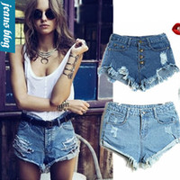Women Button Fly Acetate New Arrival Free Shipping 2014 New European Fashion Women Vintage High Waist Ripped Denim Shorts Casual Jeans Plus Size HZN 1044