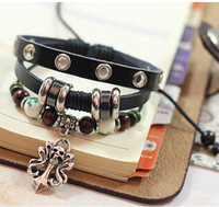 Wholesale Men Women Punk Skull Bracelet Colorful Bead Leather Alloy Charm Bracelets Perfect Christmas Gift