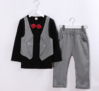 Cheap 2014 Autumn New Item Long Sleeve With Bow Tie Fake 2Pcs Tees Tshirts +Plaid Pants 2Pcs Set Suits Kids Childs Outwear Clothing Clothes J1403