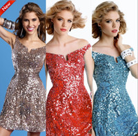 Reference Images Satin Off-Shoulder Blingbling Off Shoulder Mini-length Zipper Shining Sequins Cheap Homecoming Dresses Short Sexy Party Dresses on Sale Prom Cocktail Vestidos