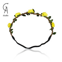 Headbands Yellow,Red,Pink Bohemian hair accessories Headband Garland Beach Bride multicolor flower hairband for girl and women wedding party wear