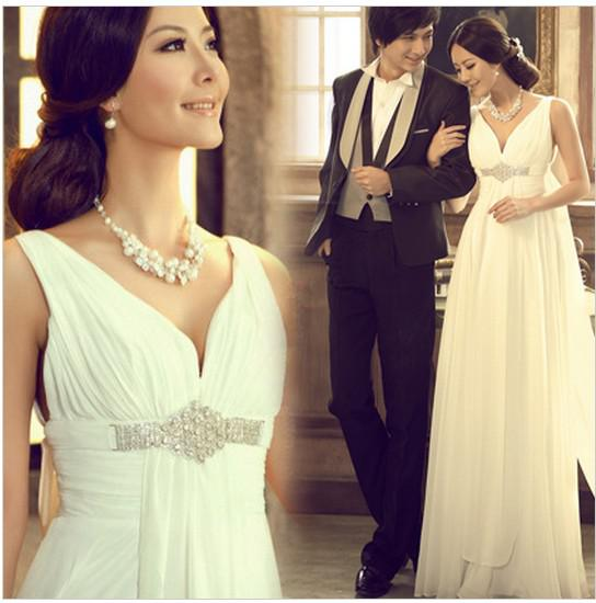 Empire Train Wedding Dress