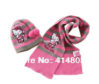 Wholesale Original Quality Y Kids Autumn Spring Hello Kitty Pom Pom Hat Scarf PIECE Set Childrens Cap colors sets