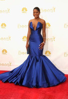 Wholesale The th Emmy Awards Celebrity Dresses Trumpet Royal Blue Slit Neckline Court Train Evening Gowns