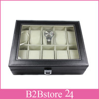Hot 10 Grid Watch Display Case Leather Watch Display Slot Ca...