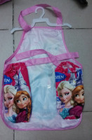 Polyester apron gift set - Frozen Children Painting Smock Apron ELSA ANNA Printe Kids Cartoon Cooking Art Set Sleeveless Aprons Oversleeves girls christmas gift