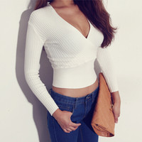 Women Short V-Neck White knitted sweater and pullover jumper deep v neck top short knitwear women ladies autumn winter 2014 new fashion+ 2014 fall autumn