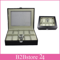 Wholesale- 10 Grid Black Leather Watch Display Case Jewelry S...