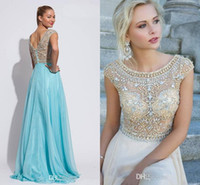 Wholesale Bling Sexy Crew Beading chiffon Backless Formal evening dress Prom gown Sleeveless A line Floor length Crystals Custom made
