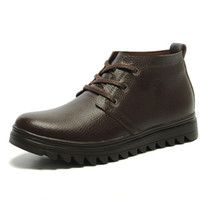 Wholesale Winter Business Fashion Casual Velvet Cotton Padded Thermal Genuine Cowhide Leather Hush Puppies High top Shoes Mens Footwear Winter Boots