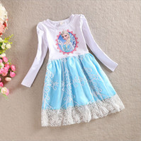 TuTu Spring / Autumn A-Line Wholesale 2014 Autumn Frozen Dress Girls Elsa Dress Long Sleeve Frozen Costume Girls Dress Cotton With Lace High Quality 2-6Y pink Blue