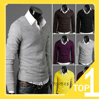 Wholesale Hot Sale Men new fashion retro cotton cultivation sweater V neck bottoming cardigan sweater Y2467