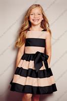 Wholesale New pink black striped big bow girl dress baby dress girls clothing casual dress sleeveless skirt tcq X