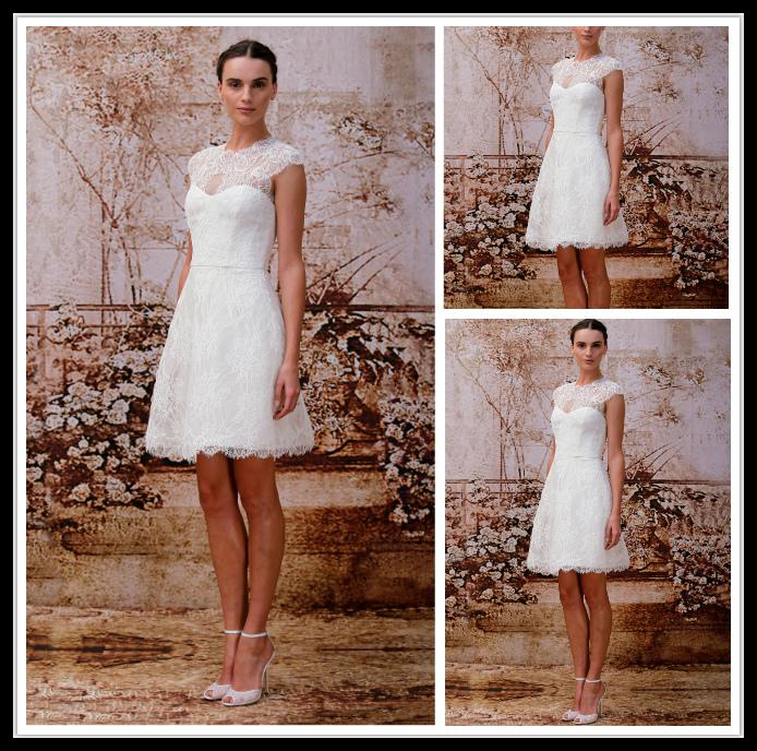 Modest Lace Short Wedding Dresses Jewel White A Line Knee