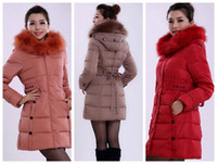 Wholesale Blended wool and down the long fur collar self cultivation hooded feather Women s Fashion outdoor Down Coat Jacket colors free shippi
