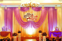 Wholesale Wedding party celebration Fabric Satin Curtain Backdrop Stage Performance Background m wd603
