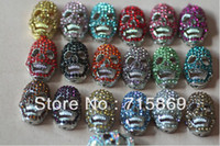Wholesale Free Ship x14x9mm mixed colors rhinestone white K bottom alloy skull bead pave charm skull jewelry Connetors Crystal bead