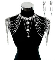 Adults Women  Wedding Bridal Dresses Epaulet Jacket Crystal Rhinestone Silver Necklace Long Shoulder Long Full Body Chain Earrings Jewelry Set