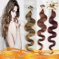 Wholesale Loop Micro Rings Hair Extensions Remy Brazilian Human Hair s pack quot quot Straight Body Wave g g g