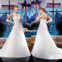 Wholesale Classic Vestido De Noiva Halter Backless Organza Lace Court Train Wedding Dresses Custom Made Bridal Gown