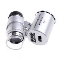 Wholesale 2 in X mini Pocket Magnifier Microscope Loupe with LED light UV Currency detector H8563