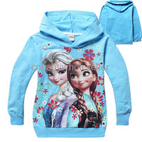 Girl Spring / Autumn Standard 2014 New Fashion Frozen Baby Shirts Elsa And Anna Pattern Children Hoody Cotton Autumn Kids Clothing Wholesale SW40823-35