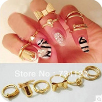 Band Rings Celtic Women's R121 Min.order is $10 (mix order)free shipping 7Pcs Gold Skull Bowknot Heart Nail Simple Band Midi Mid Finger Top Stacking Ring