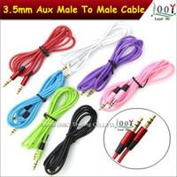 Cordon de câble audio de 3,5 mm de couleur 1,2 m de voiture Aux extension de remplacement mâle à mâle adaptateur pour iphone, voiture haut-parleur mp3