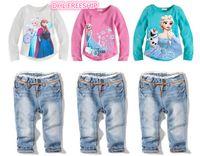 Wholesale DHL free Girls frozen cotton piece set autumn children frozen shirt and denim jeans girl outfit clothes kids sets baby gift J082602