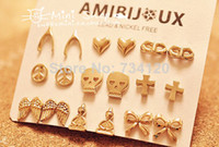 Wholesale ES EX142 mix factory fashion cute wishing bone heart mask peace bow anchor Skull wing stud earrings for women