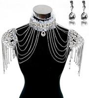Adults Women  Fashion Bridal Dresses Epaulet Jacket Crystal Rhinestone Silver Necklace Long Shoulder Long Full Body Chain Earrings Jewelry Set