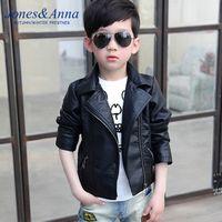 Wholesale Fashion Boys PU leather jacket Autumn Winter European style Boys turn down collar Black Outwear Kids Handsome Suit Children Zipper Coat