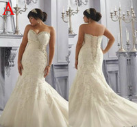 Wholesale Plus size custom made mermaid wedding dresses hot sale sweetheart sexy lace up back beaded appliques lace court train bridal gowns NL3165