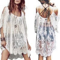 Wholesale S5Q Mini Dress Vintage Boho Hippie Women s Floral Crochet Lace Party Short Tops AAADSY