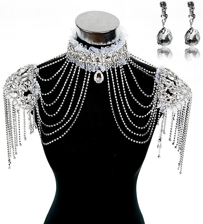 Fashion bridal dresses epaulet jacket crystal rhinestone for Costume jewelry for evening gowns