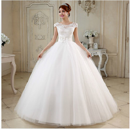 Bridal gown 2015 New White Fashion Ball Gown Scoop Neck Sheer Tulle stain Wedding Dress with flower