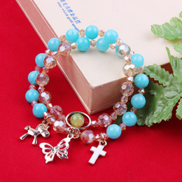 Wholesale Blue Natural Stone Beaded Wrap Bracelet Horse Butterfly Cross Charm Crystal Beads Bracelets Jewelry Hot Sale