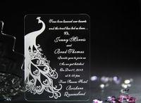 Invitations & Invitation Buckles acrylic custom cut - 50 Elegant Cut Peacock Acrylic Wedding Invitation Cards Free Custom Printing Party invitations