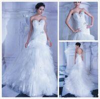 demetrios wedding dress - 2016 wedding gowns New Demetrios Charming Beaded Gown Sleeveless Mermaid Sweetheart White Dress Chapel Train Wedding Dresses