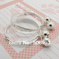 Bangle Yes 4cm Wholesale-10pairs Silver Plated Chinese Letter Style Baby Kid Children's Engraved Engraved Bangle Bracelet with Bell charms HB408
