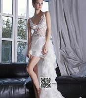 Wholesale 2015 Sexy Sheer High Low Wedding Dresses Lace V Neck Organza Bridal Gowns Vestido De Noiva W3323
