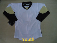 Wholesale Discount Cheap Spheniscidae Kid Hockey Jerseys Blank Away Home White Youth Hockey Jersey All Stitched Embroidered Size S M L XL