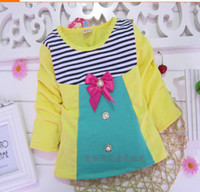 Wholesale New arrival Autumn children kids clothes pink red yellow t shirt stripes ribbon bow butterfly long sleeve round neck tee shirt FC14