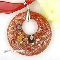 Pendant Necklaces bulk glitter - round silver foil glitter millefiori murano glass handmade lampwork pendants murano millefiori fashion jewelry in bulk